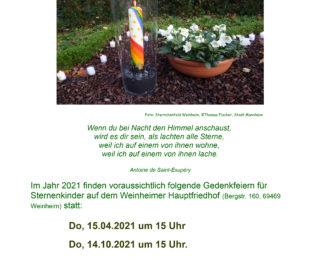 Gedenkfeiern in Weinheim 2021